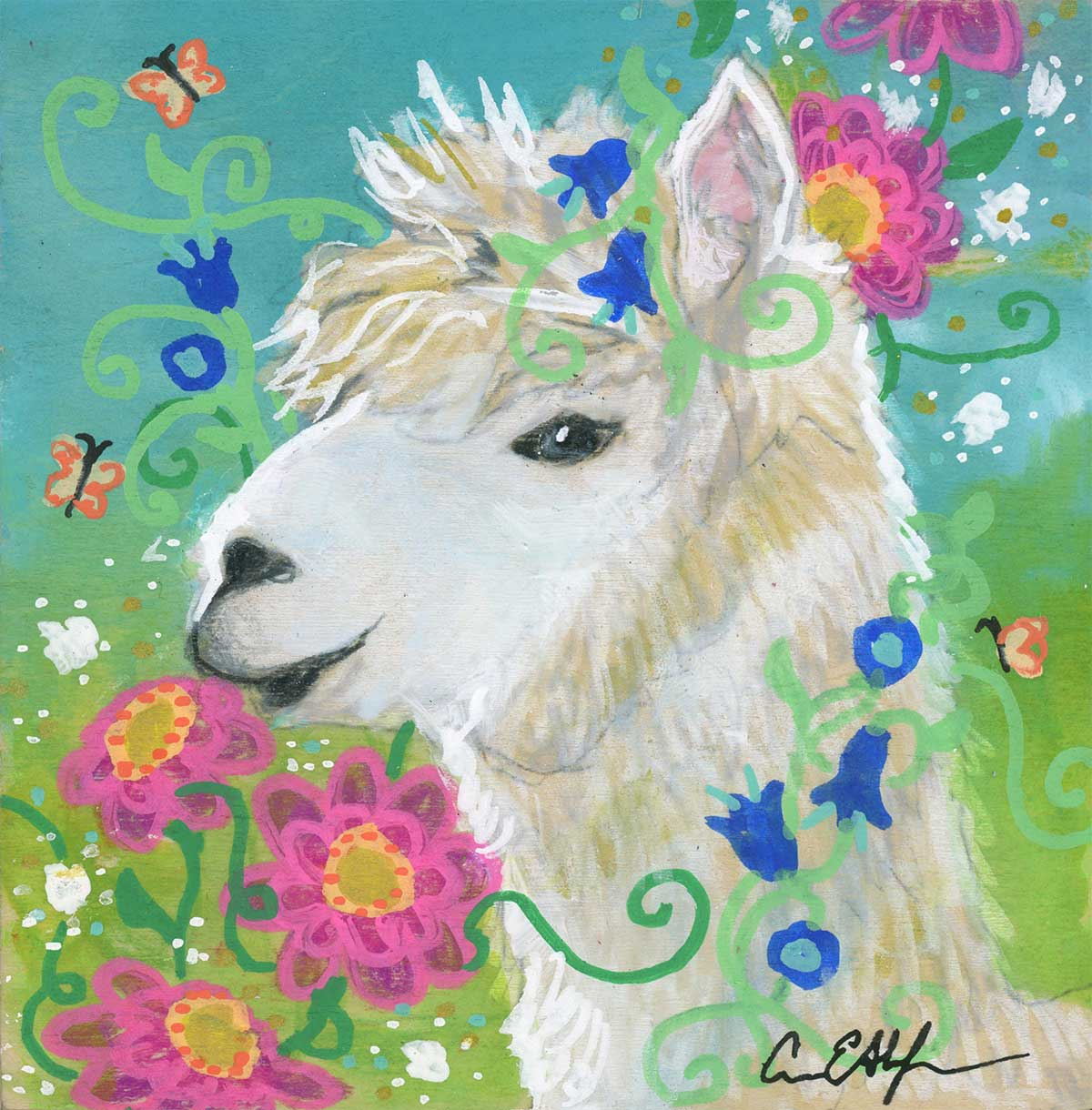 "SOLD - ""Llama and Pink Flowers"", 4"" x 4"", mixed media"
