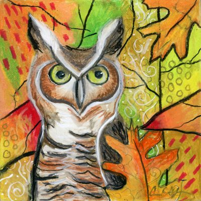 """Autumn Owl"", 6"" x 6"", mixed media"