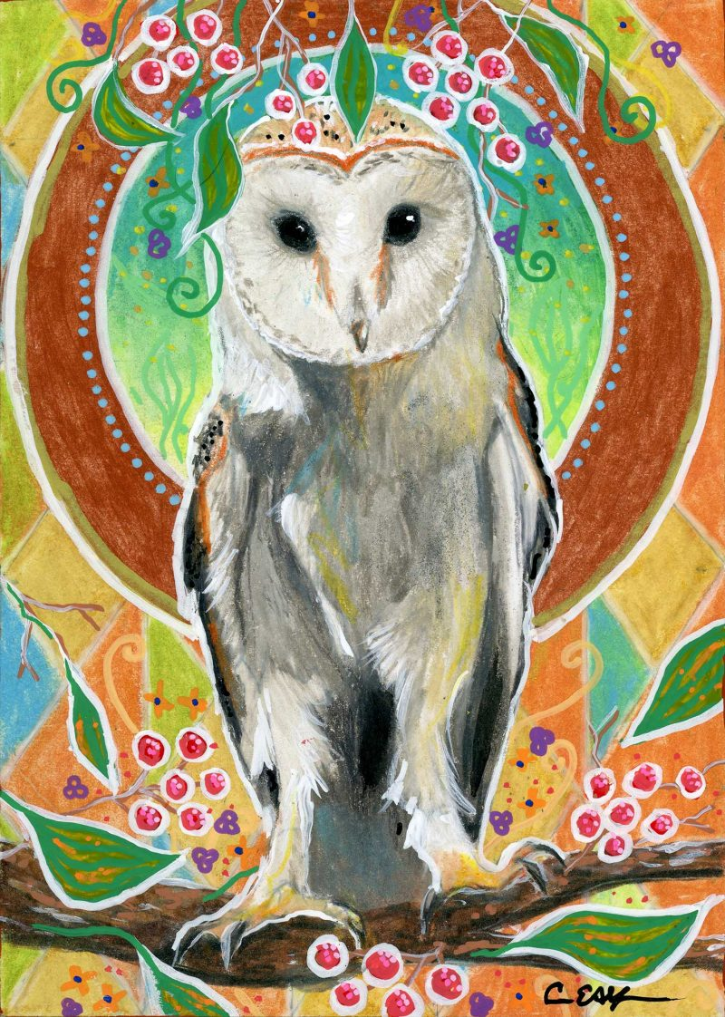 "SOLD - ""Barn Owl and Berries"", 5"" x 7"", mixed media"