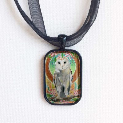 Barn Owl and Berries - Pendant