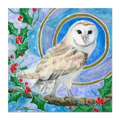 Barn Owl and Holly - Art Print