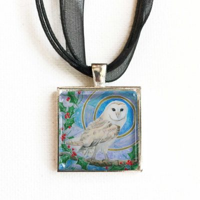 Barn Owl and Holly - Pendant