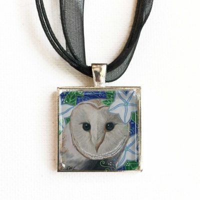 Barn Owl and Moon Flowers - Pendant