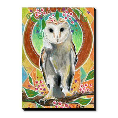 Barn Owl and Berries - Art Print