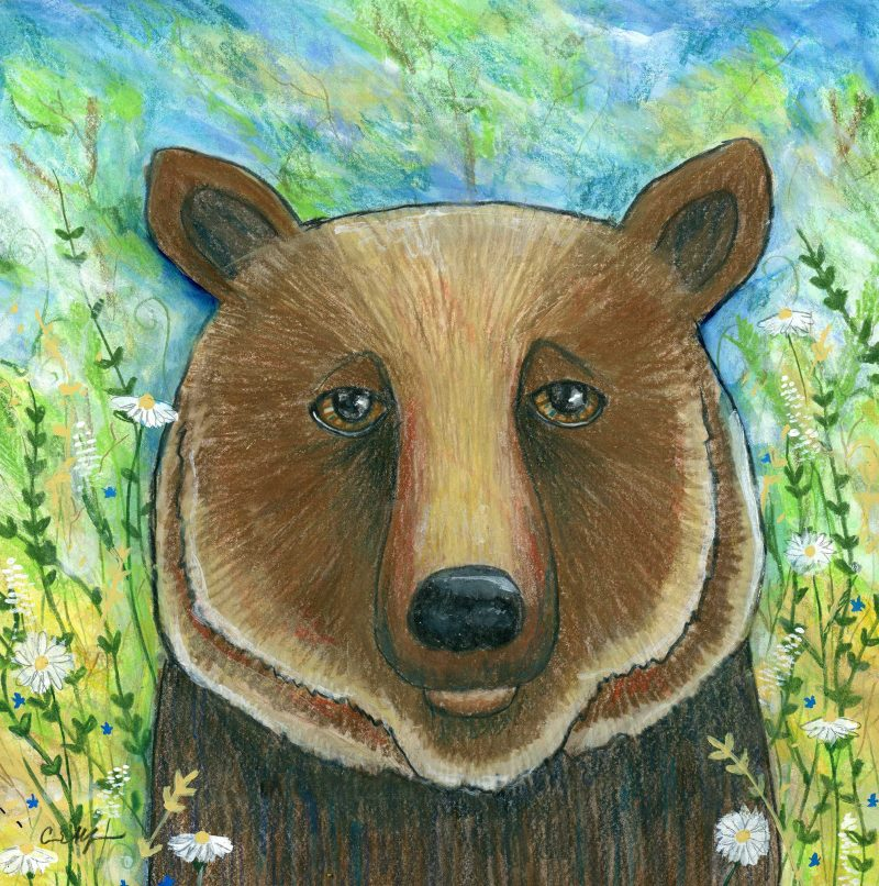 "SOLD - ""Bear in Flowers"", 12"" x 12"", mixed media"