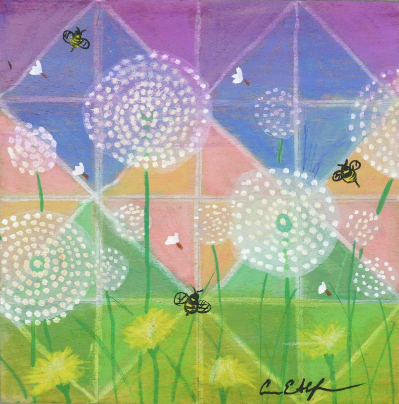 """""""Bees and Dandelions"""", 4"""" x4"""", mixed media"""