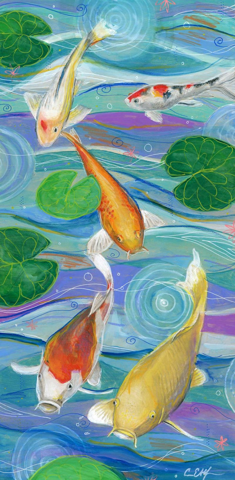 """Big Spring Koi"", 12"" x 24"", mixed media"