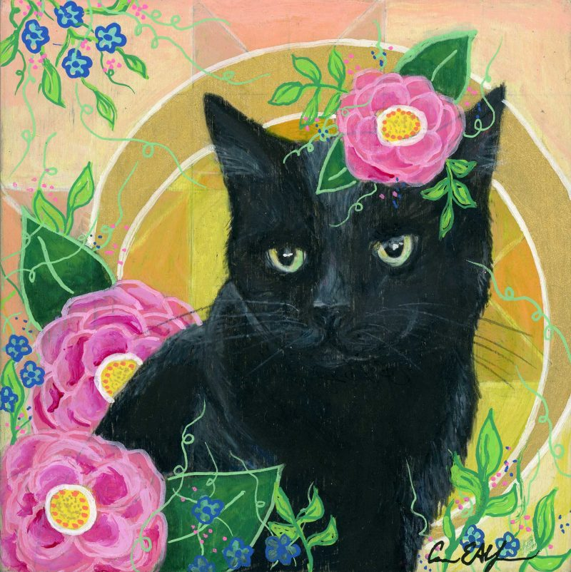 """SOLD - """"Black Cat and Camellias"""", 6"""" x 6"""", mixed media"""