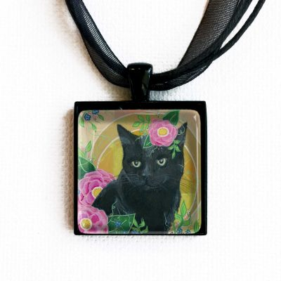 Black Cat in Camellias - Pendant