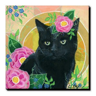 Black Cat and Camellias - Art Print