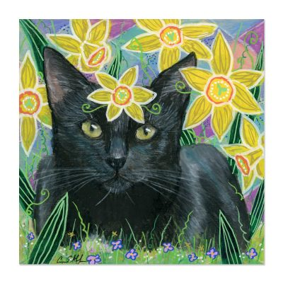 Black Cat in Daffodils - Art Print