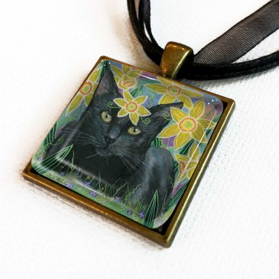 Black Cat in Daffodils - Pendant