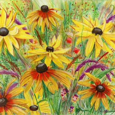 """Black Eyed Susans"", 18"" x 24"", mixed media"