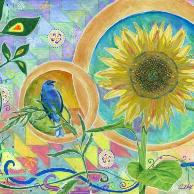 Blue Bunting and Sunflower - Original Art