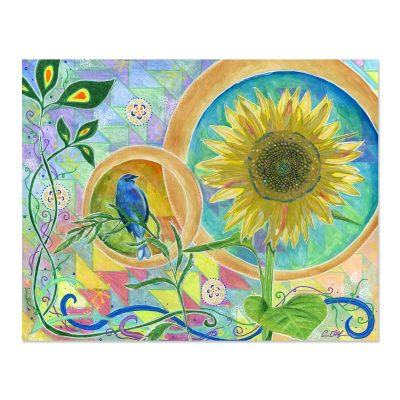 Blue Bunting and Sunflower - Art Print
