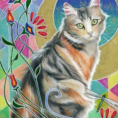 """""""Calico and Dragonflies"""", 12"""" x 24"""", mixed media"""