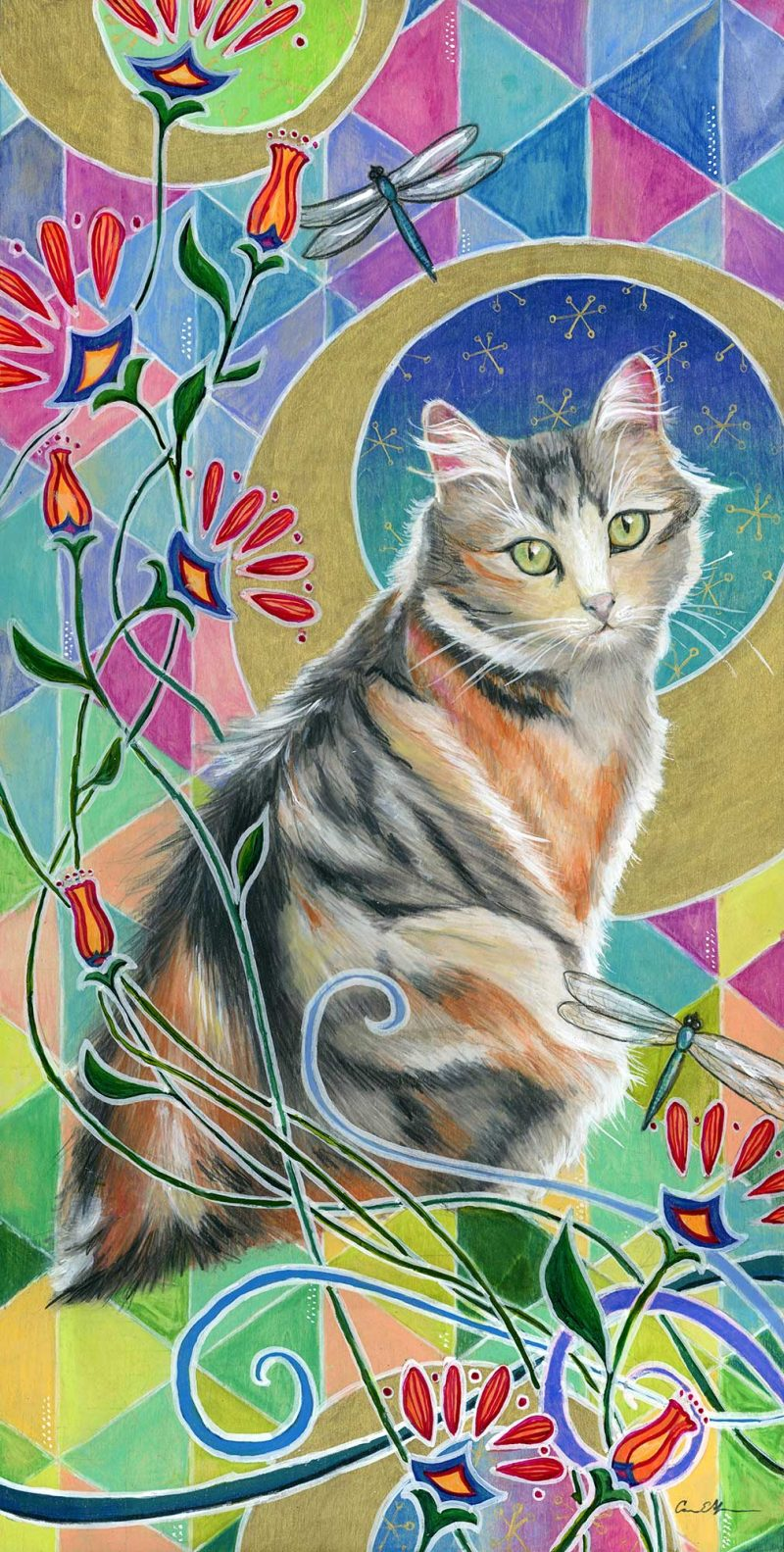 """SOLD - """"Calico and Dragonflies"""", 12"""" x 24"""", mixed media"""
