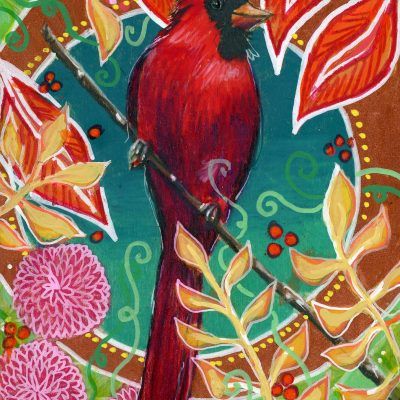 """Cardinal and Mums"", 7"" x 5"", mixed media"