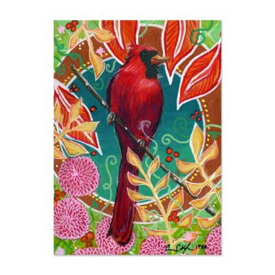 Cardinal and Mums - Art Print