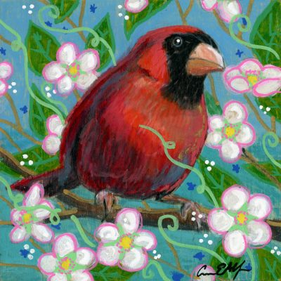 """Cardinal in Apple Blossoms"", 4"" x4"", mixed media"