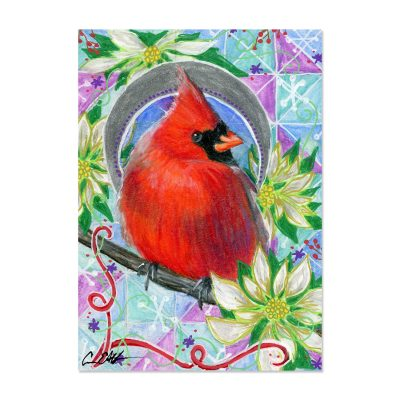 Cardinal in White Poinsettias - Art Print