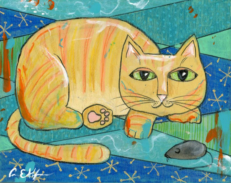 """SOLD - """"Cat and Mouse"""", 8"""" x 10"""", mixed media"""