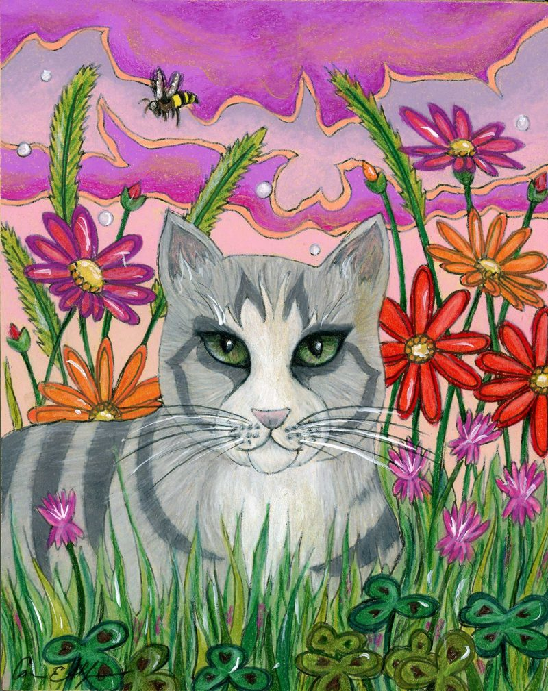 """SOLD - """"Cat in the Clover"""", 8"""" x 10"""", mixed media"""