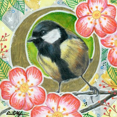 """Chickadee in Camellias"", 6"" x 6"", mixed media"
