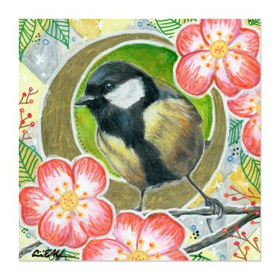 Chickadee in Camellias - Art Print