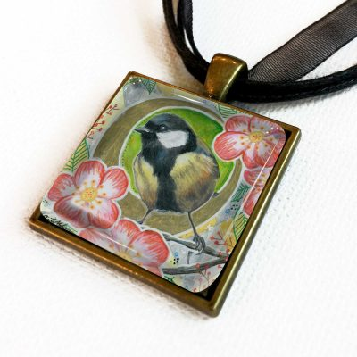 Chickadee in Camellias - Pendant