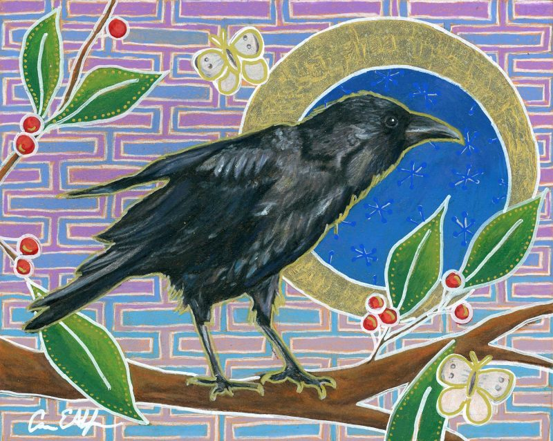 """SOLD - """"Curious Raven"""", 10"""" x 8"""", mixed media"""