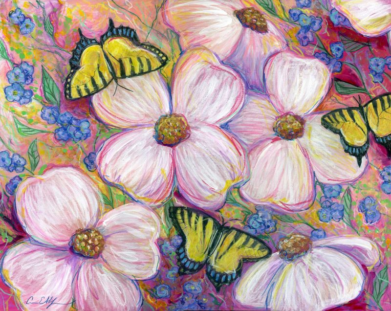 """""""Dogwoods and Swallowtails"""", 16"""" x 20"""", mixed media"""