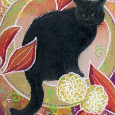 """Fall Black Cat"", 5"" x 7"", mixed media"