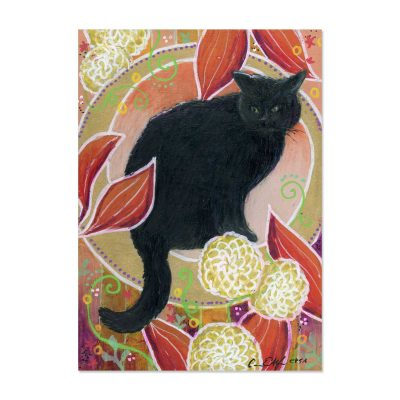 Fall Black Cat - Art Print