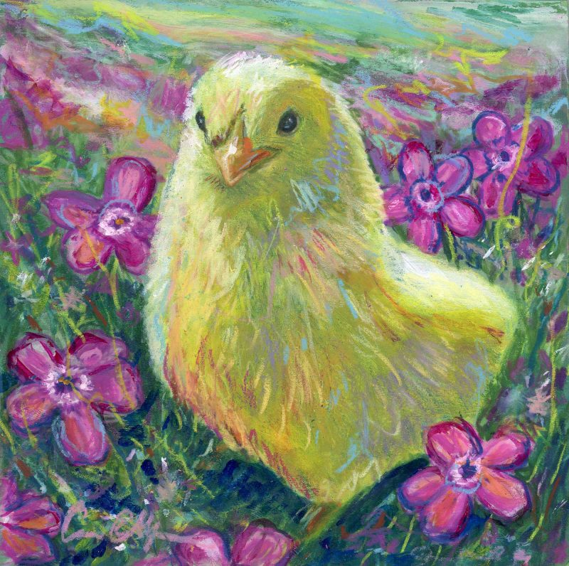 """SOLD - """"Flower Chick"""", 6"""" x 6"""", mixed media"""
