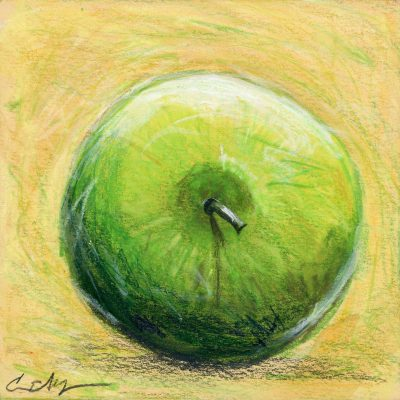 """Green Apple"", 6"" x 6"", mixed media"