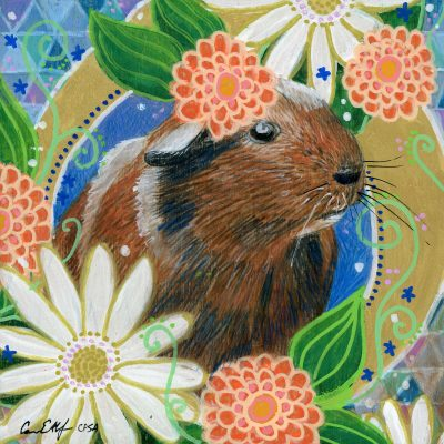 """Guinea Pig in Flowers"", 6"" x 6"", mixed media"