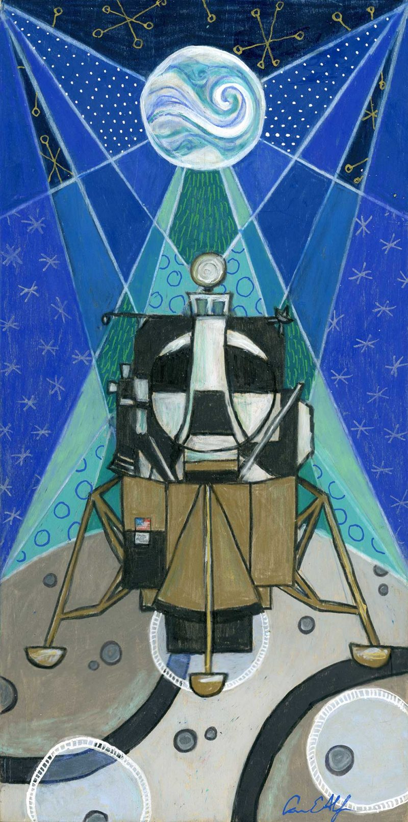 """Holiday Lunar Lander"", 6"" x 12"", mixed media"
