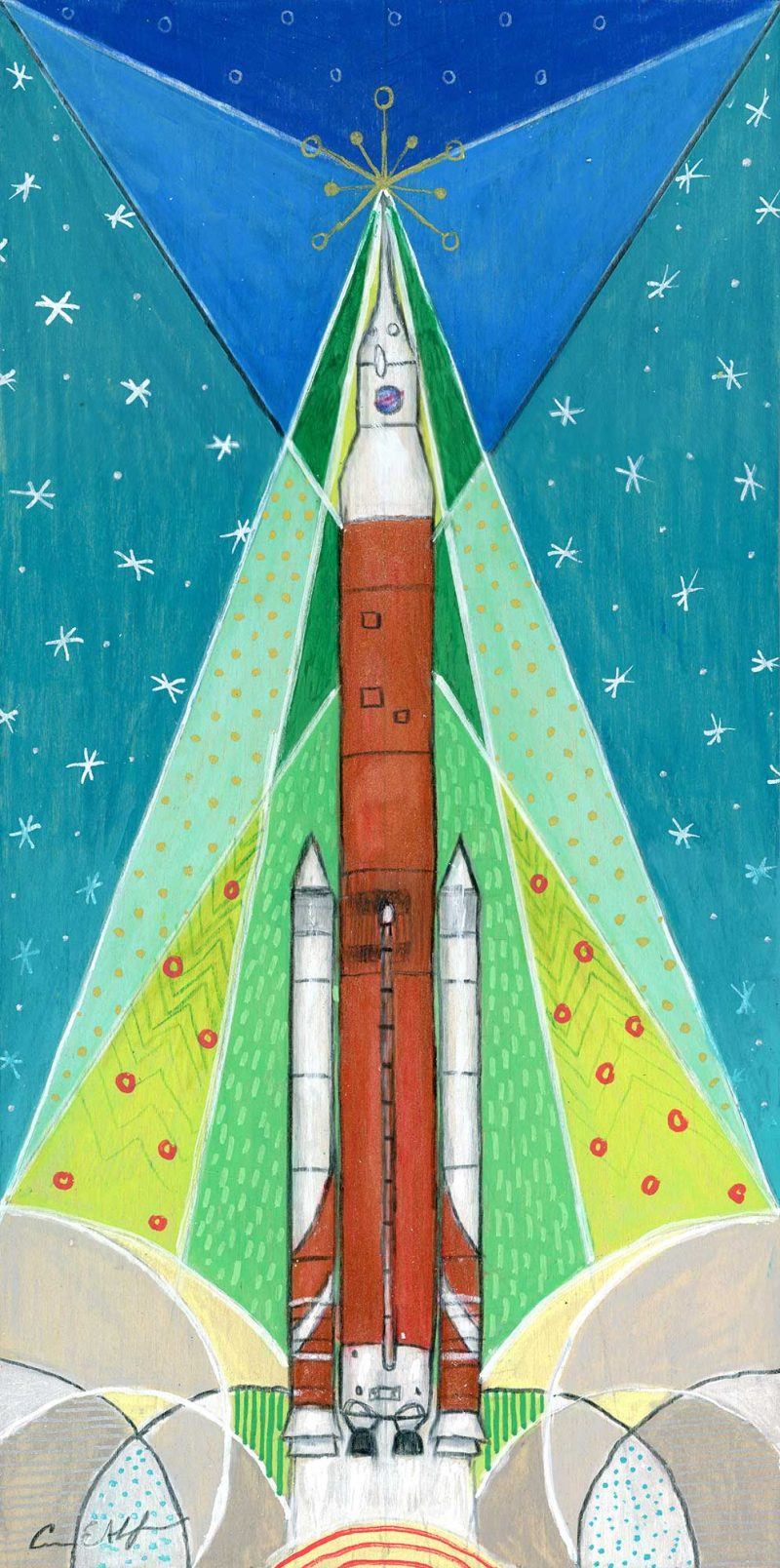 """Holiday SLS"", 6"" x 12"", mixed media"