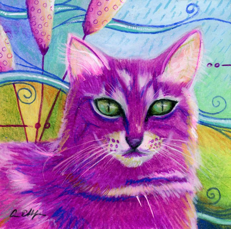 """SOLD - """"Maddie in Pink"""", 6"""" x 6"""", mixed media"""