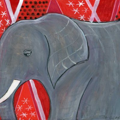 """Mod Elephant on Red"", 8"" x 10"", mixed media"