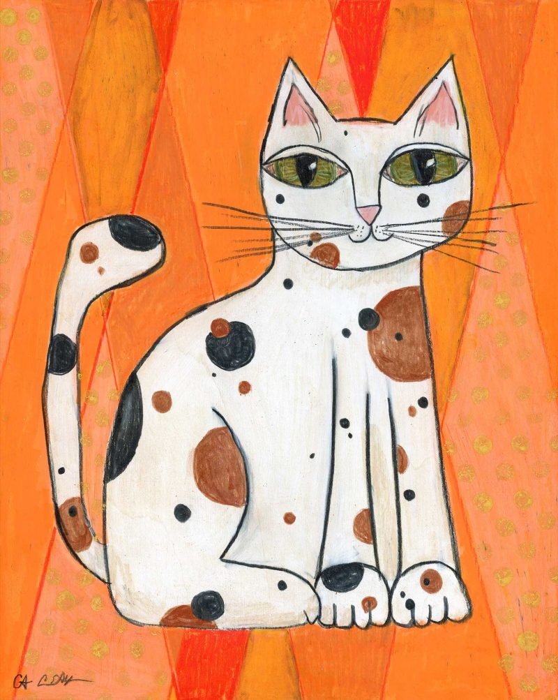 "SOLD - ""Mod Cat on Orange"", 8"" x 10"", mixed media"