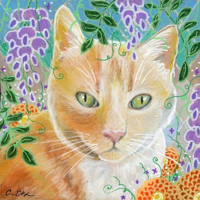 """Orange Tabby and Wisteria"", 6"" x 6"", mixed media"