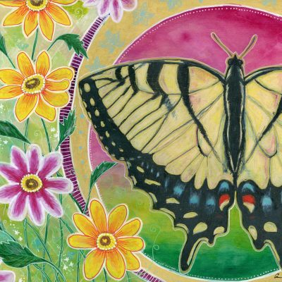 """Peaceful Swallowtail"", 14"" x 11"", mixed media"