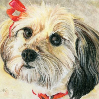 """SOLD - """"Red Ribbon"""", 8"""" x 10"""", colored pencil"""
