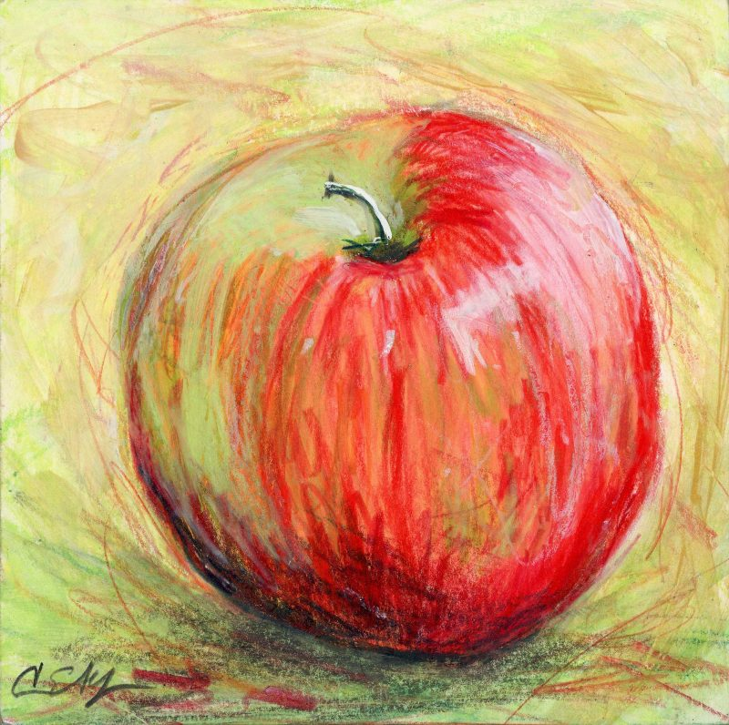 """""""Red Apple"""", 6"""" x 6"""", mixed media"""