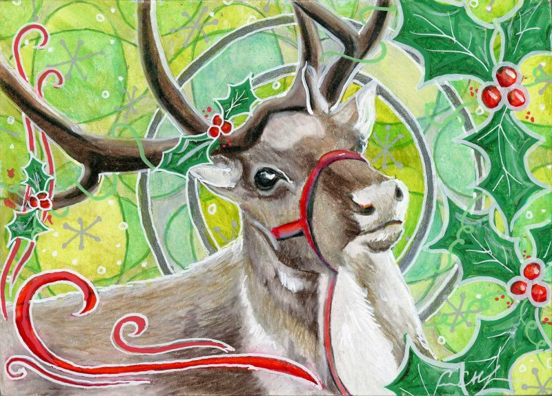 """SOLD - """"Reindeer and Holly"""", 7"""" x 7"""", mixed media"""