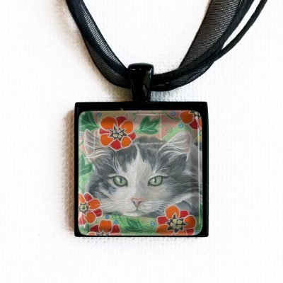 Resting in Red Flowers - Pendant