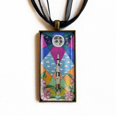 Saturn V and Camellias - Pendant