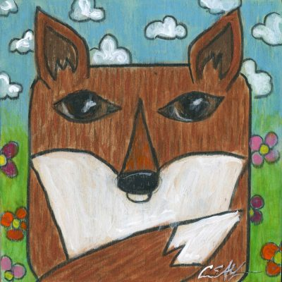 """Squarimal: Fox #1"", 4"" x 4"", mixed media"